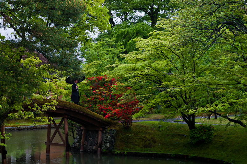 A guide with his black raincoat | Katsura Rikyu Imperial Villa