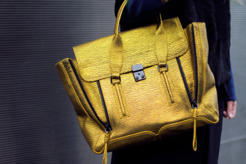 3.1 Phillip Lim gold shark embossed calf leather pashil satchel [source: fashion squad]