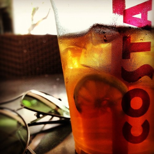 Peachy. This iced-tea is. #midweekholiday #instafun #picoftheday #igers #webstagram #bangalore #india #tea #photooftheday (Taken with Instagram at Costa Coffee)