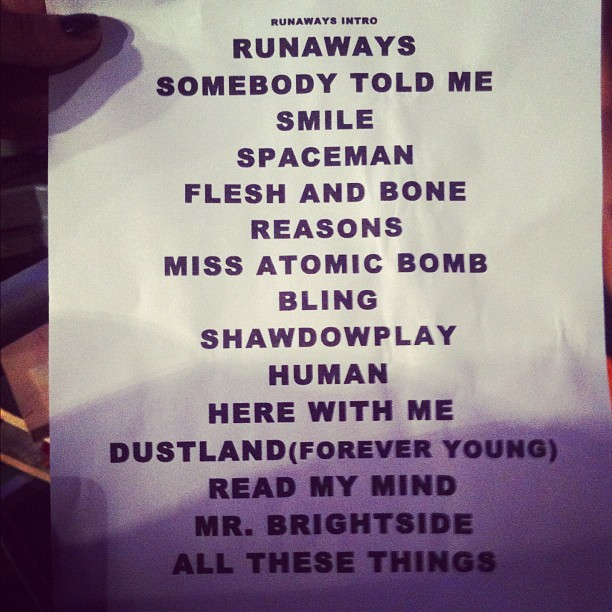 #thekillers #setlist (Taken with Instagram at Paradise Theater)