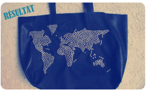 DIY Studded World Map Tote Tutorial from clones 'n' clowns for alittlemercerie here. You could also use really cheap office supply brads to make this like Gloriously Chic did in a studded dress here.