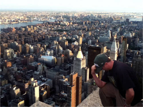 Tebowing on top of the Empire State Building