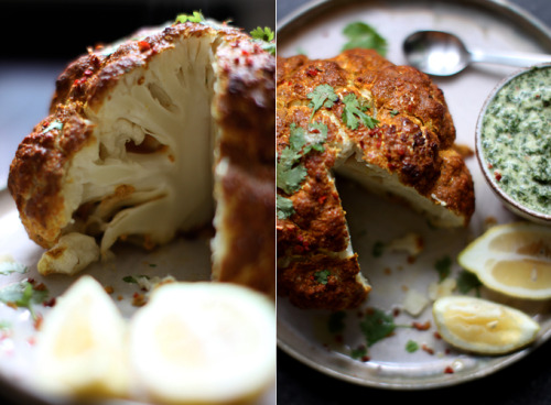 HURRY FOR THE TANDOORI. (via My New Roots: Whole Roasted Tandoori Cauliflower with Mint Chutney)