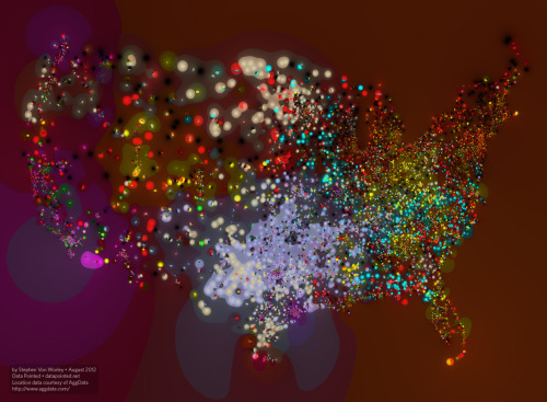 Fast food map of the United States. No wonder we're so fat.