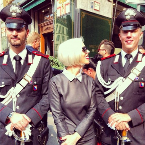 bergdorfgoodman:  With my handsome Italian carabinieri! Arrest me!- Linda Fargo #mfw (Taken with Instagram)