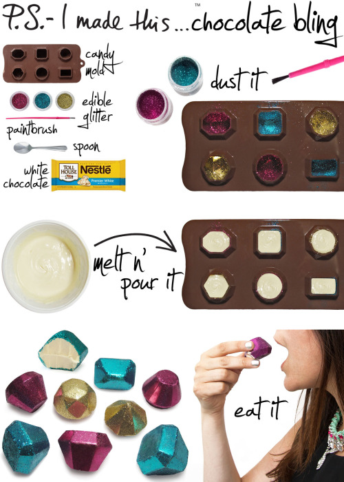 Who says chocolate can have some bling! ps-imadethis:  Gems are truly truly outrageous, even more so when they satisfy not only your eye, but your sweet tooth, too.  Diamonds are a girl's best friend and glitter is a crafty girl's ultimate go-to. There's simply no such thing as too much sparkle, so dress up your deserts and wow the guests at your next fancy fete with a decadent and elegantly edible DIY.       To create:  dust candy mold with different shades of edible glitter, using a clean paint brush. It magically sticks to all sides! Melt white chocolate following the package's specific directions. Use a small spoon to fill the melted white chocolate into the mold.  Place the filled mold into the refrigerator for at least a few hours untill set completely.  Once hardened, carefully remove from the mold. You may want to add a little extra hint of glitter on the bottoms or on sides.