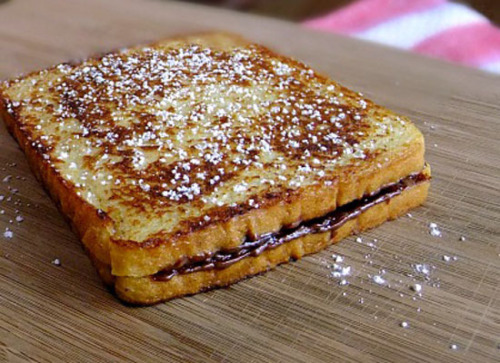 Stuffed French toast with Nutella and bananas. Want more? Duh, you want more.