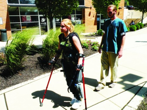 "ericmortensen:  ReWalk ushers in the age of the exoskeleton  Though it may be described by its creators, Argo Medical Technologies, as a ""wearable, motorized exoskeleton suit,"" it's no exaggeration to describe ReWalk as bionic technology—at least not according to Merriam-Webster's definition. Back in April and May of this year, Claire Lomas used ReWalk to complete the London Marathon in 16 days despite being paralyzed from the chest down. This month, she is taking ReWalk home for daily use, which is something of a milestone in assistive technology. It's claimed that this is first time an exoskeleton suit has been used unsupervised in the home environment as a long-term alternative to the wheelchair.    Technology is awesome."