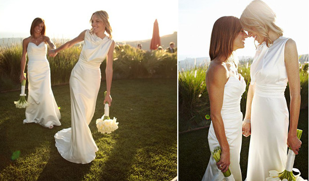 fansofthereallword:  Nikki and Jill on their wedding day
