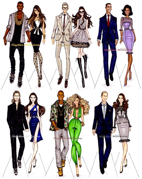 haydenwilliamsillustrations:  Power Couples by Hayden Williams