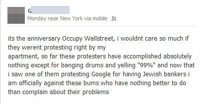 Not a fan of OWS, Douche From High School?