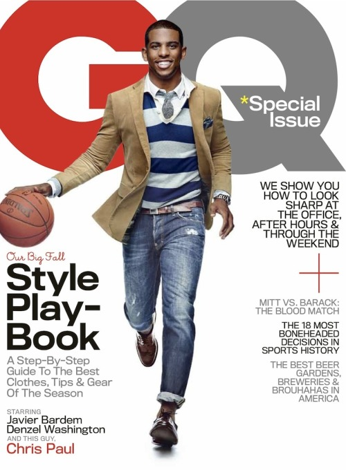 "On the Cover: Chris Paul In our October 2012 cover story, Steve Marsh checks in with the L.A. Clippers point man, who's turned the laughingstock of the NBA into one of the league's most thrilling teams:  CP3 says something I've never heard any man, let alone a basketball player, say before: ""I've been fortunate to be short my entire life."" I look puzzled, and he explains. ""There's only one position I've ever had to play, and that's point guard. So I've always had to be that leader. And that was my job: you know, to talk."" CP3 is looking me straight in the eye. ""I'm a big-time people person, too. Like, I love people. I hate to be by myself."" He repeats the phrase to himself, quieter each time: ""I hate to be by myself. I hate to be by myself. I hate to be by myself."" It's hard to overstate how famous CP3 is along Tobacco Road. It all goes back to a single game during his senior season at West Forsyth High, when he scored sixty-one points—a tribute to his grandfather who was murdered the week before, at the age of 61. ""Papa Chili"" opened the first black-owned service station in North Carolina in 1964, at the height of the civil rights movement; Chris and C.J. used to work there as kids, changing oil for customers. Papa Chili was Chris's favorite person on the planet. One evening in 2002, he was beaten to death in the driveway outside his home. It was Aunt Rhonda's idea for Chris to try putting up exactly sixty-one points. ""I thought it was crazy,"" Paul says. Until then, he had never scored more than thirty-nine in a game. Afterward, he was flown to New York and interviewed on Good Morning America. The game ball is still his most cherished trophy.  Read the Full Interview at GQ.com"