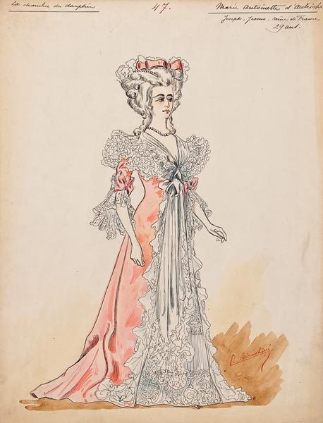 "tiny-librarian:  A series of costume designs for ""The Royal Necklace"", 44 in all, ink and watercolour on card, for Marie Antoinette, Louis XVI, le Cardinal de Rohan (played by Frank Cooper), le Comte d'Artois, la Duchesse de Polignac, la Comtesse de Soucy, Madame de Rohan, la Marquise de Villefort, and others, the majority mounted on paper in unbound book form, 313mm. by 239mm. Charles Bianchini was principal costume designer for the Paris Opera. The Royal Necklace was first performed at the Imperial Theatre in 1901 with Lily Langtry in the role of Marie Antoinette. The designs are anotated with details of the character, and the scene for which the costume was intended. In many cases there are different designs for the same character in two or more of the seven different locations."