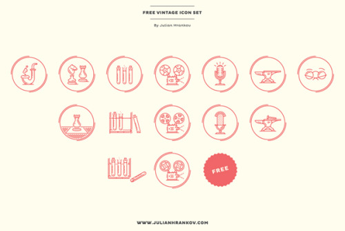 Vector Graphics Icon Set Julian Hrankov originally designed these vintage inspired icons for a university presentation. The full icon set is now available for free. You can use them for private and commercial work. Download the free vector icon set here. via: WE AND THE COLORFacebook // Twitter // Google+ // Pinterest