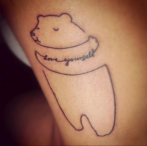 fuckyeahtattoos:  this is my 'love yourself' teddy bear tattoo, because i am a teddy bear and i have realized that i, indeed, love myself. i recently was released from therapy for self-harm and depression and am currently on suicide watch. so this little man just reminds me that i'm better than what i've been through and i'm worth it. done by my brother's best friend Eric at voodoo needle in auburn, alabama. doodle isn't original, it's from ilovedoodle on etsy. i'm funkyfate.tumblr.com.