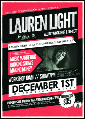 Just got word I'll be teaching an all day work shop on Dec. 1st and playing a concert that night!  Get your tickets now and learn more here: http://laurenlight.com/classes.html