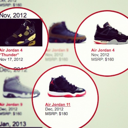 3 Jordan's I want come out in a 2 month period. The wife isn't going to be too happy with me. #jordans #jordanXI #jordan4 #BRED #Playoffs #sneakerhead (Taken with Instagram)