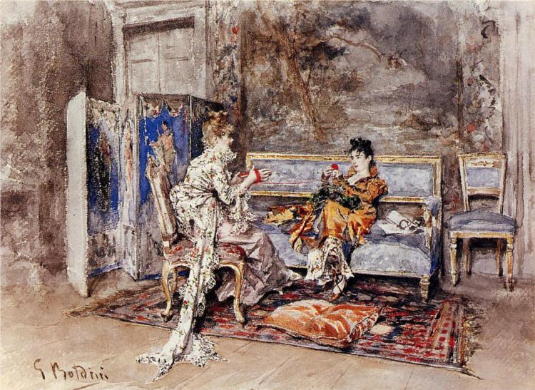 surrealappeal:  Giovanni Boldini, The Conversation, 1870.  good