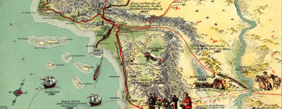 "Map: Gerald Eddy's ""Important historical events which have made Los Angeles' growth possible"" (1929) originally posted to the BIG Map Blog."