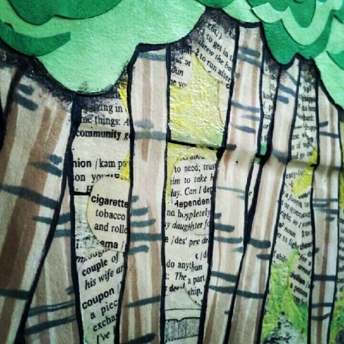 Detail! Dictionary circles, watercolor painted strips,green construction paper, and acrylic paint