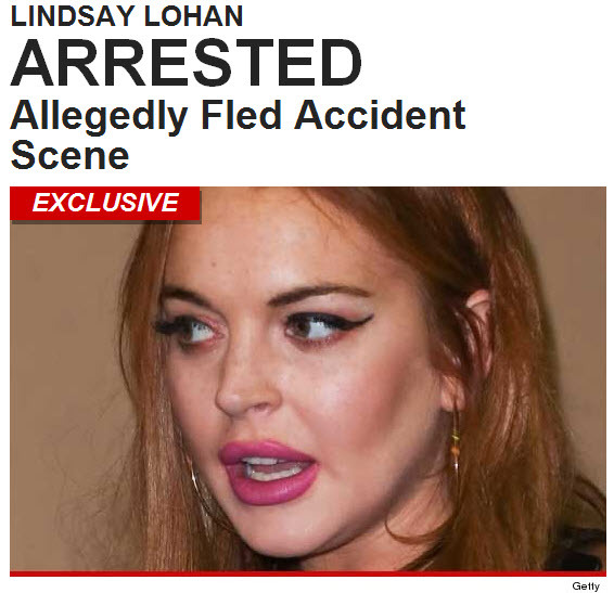 Lindsay Lohan was arrested for leaving the scene of an accident early this morning after allegedly clipping a pedestrian in downtown Manhattan … TMZ has learned.