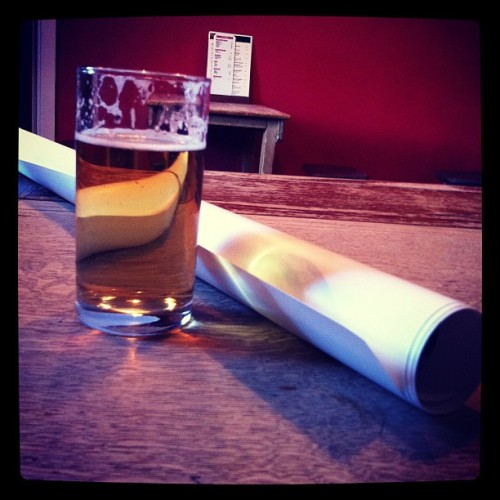 Design proofs and a cheeky half pint after busy day at studio.  (Taken with Instagram)