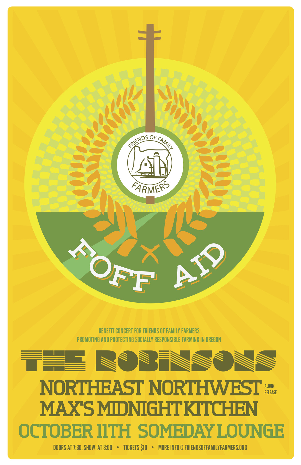 The Robinsons are taking a break from recording to play a benefit for the Friends Of Family Farmers. THURS, OCT.11 - 8PM. You can buy tickets here! Friends of Family Farmers is a united voice for independent family famers that supports socially and environmentally responsible agriculture. FOFF.