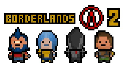 pixelblock:  Borderlands 2 has finally been released worldwide ! To celebrate, here are the four new Vault Hunting protagonists in all of their tiny pixelated glory. From left to right :  Salvador the Gunzerker, Maya the Siren, Zer0 the Assassin and Axton the Commando.