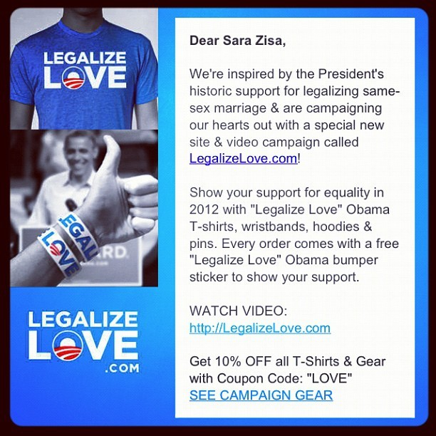 This is the main reason why I love Obama. #obama #president #legalize #love #legalizelove #campaign #change #2012 #election # (Taken with Instagram)