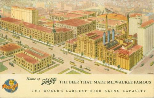 Schlitz Factory 1943 Stay tuned for the back of this interesting Vintage postcard mailed in 1943