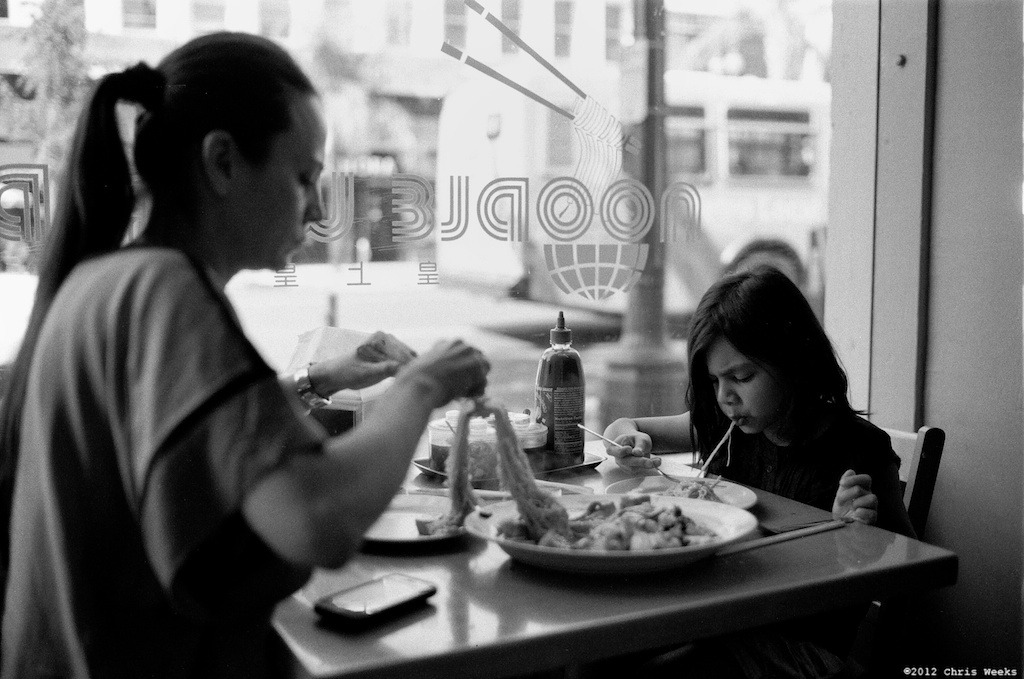 Pasadena, Calif.:  August, 2012.  Vexed by noodles.  Leica MP.  35 'cron  Aperture.