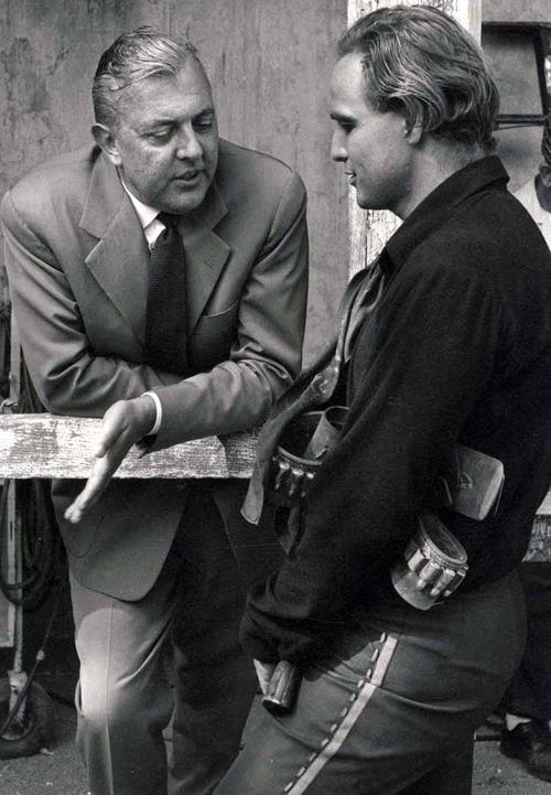 "Jacques Tati & Marlon Brando on the set of ""One Eyed Jack."""