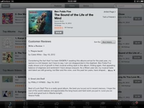 Ben Folds' 13-year-old daughter wrote a review of her dad's album on iTunes  Best of luck Dad! This is a really good album, the best you've put out in recent memory. I hope the rest of the world realizes and appreciates the long hours and hard work you put in. Love you so much and good luck in Atlanta tonight. Gracie Folds  (via)