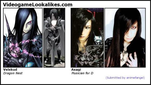 Velskud (Dragon Nest) looks like Asagi (Musician for D) animefangel sent in this nifty lookalike. EDIT: Corrected the Asagi on the far right after being fooled by a cosplayer. :D