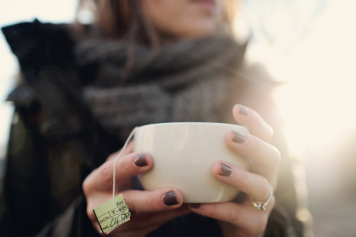 a cup of tea on a cold day.