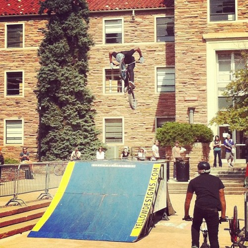 Yellow Designs Stunt Team is rollin' out some tricks today during #cuboulder's Commuter Fair. (Taken with Instagram at UMC Fountain Area)
