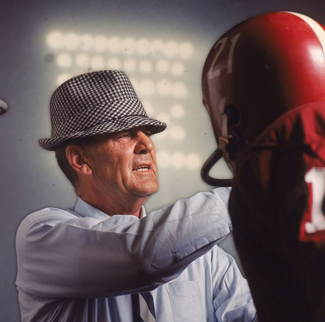 Legendary Alabama coach Bear Bryant talks to a player during a 1966 game. Bryant won 232 games and six national championships during his 25 years coaching the Crimson Tide. (John G. Zimmerman/SI) BRYANT: I'll tell you about football (8.15.66)