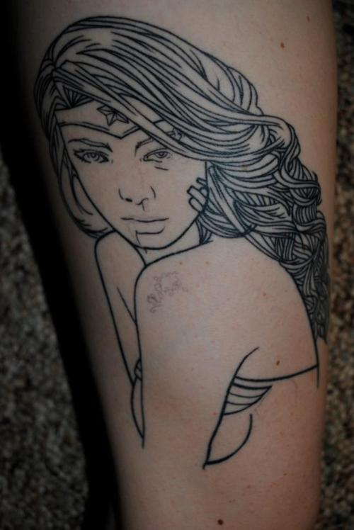 electricalivia:  fuckyeahtattoos:  Beat up Wonder Woman (Still needs to be colored), Lee OGorman, Haven Body Arts, Northampton Ma  Some original artist credit would be nice as well. This my my drawing.   Original credit goes to the Alivia Foley! Pass the word or the poser gets shot!