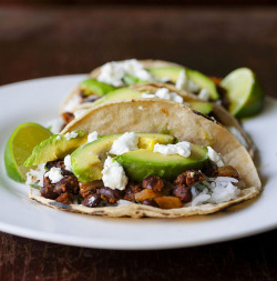 darkchef:  Achiote Black Bean Tacos with Grilled Avocado and Goat Cheese