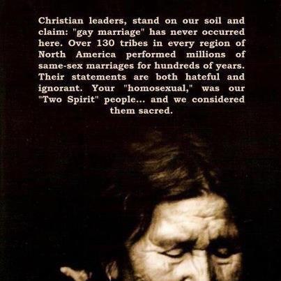 The extremely progressive view of homosexuality in Native American cultures.