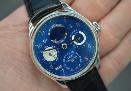 Ben spent the day with @iwc, and fell in love with this Portuguese perpetual calendar in white gold with a blue dial.  Check out his thoughts here.