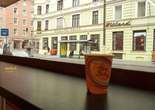 This is one of the many 1 Euro cups we had on our trip. Overlooking a not-so-busy Munich street, we settled for some fresh breakfast bread. Well we settled after a long conversation (including loads of finger pointing) on which ones are veg and which not. We also learnt the German word for vegetarian is : vegetarish. Life was much simpler afterwards.