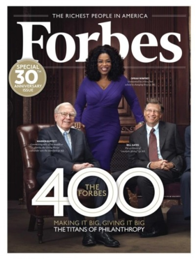 Billionaires Oprah Winfrey, Warren Buffett + Bill Gates for the latest issue of Forbes