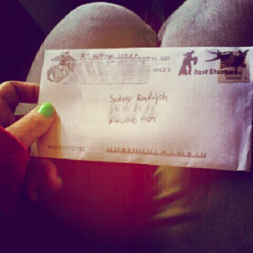 Gahhhh!!! Finally heard from my love<3 #mademyday #soexcited #tearsofjoy #ILoveYou #mymarine #bootcamp #letter #parrisisland #marinecorpsstationary  #ilovehim #imissmyboyfriend so glad to know he's okay<3 (Taken with Instagram)