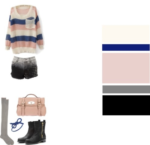 Autumn mood, soft colors. ♥ Sweater, SheInside♥ Studded shorts, Republic♥ Boots, Jimmy Choo♥ Socks, Antipast♥ Bag, Mulberry♥ Ring, Kiel Mead