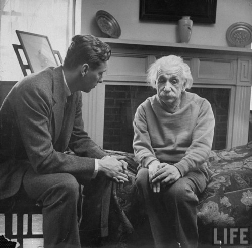 flink07:  Einstein and his therapist. happiness in intelligent people is the rarest thing I know -Hemingway