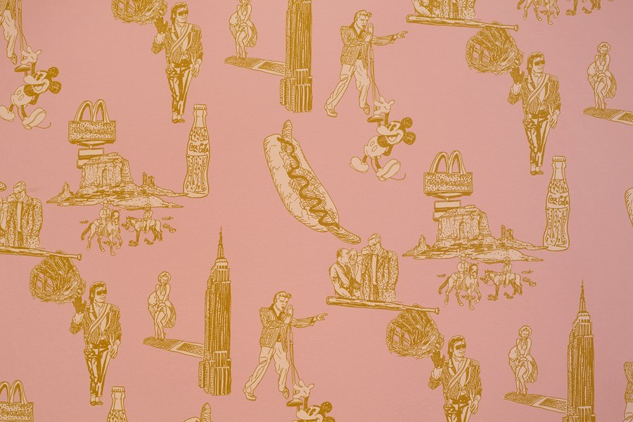 "Awesome wallpaper in Tatzu Nishi's new ""Discovering Columbus"" exhibition."
