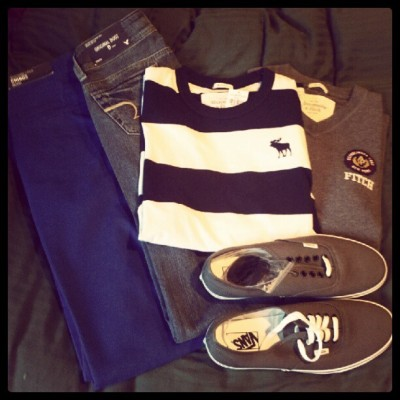 agravv:  Successful shopping trip. #clothes #abercrombie #americaneagle #vans (Taken with Instagram)