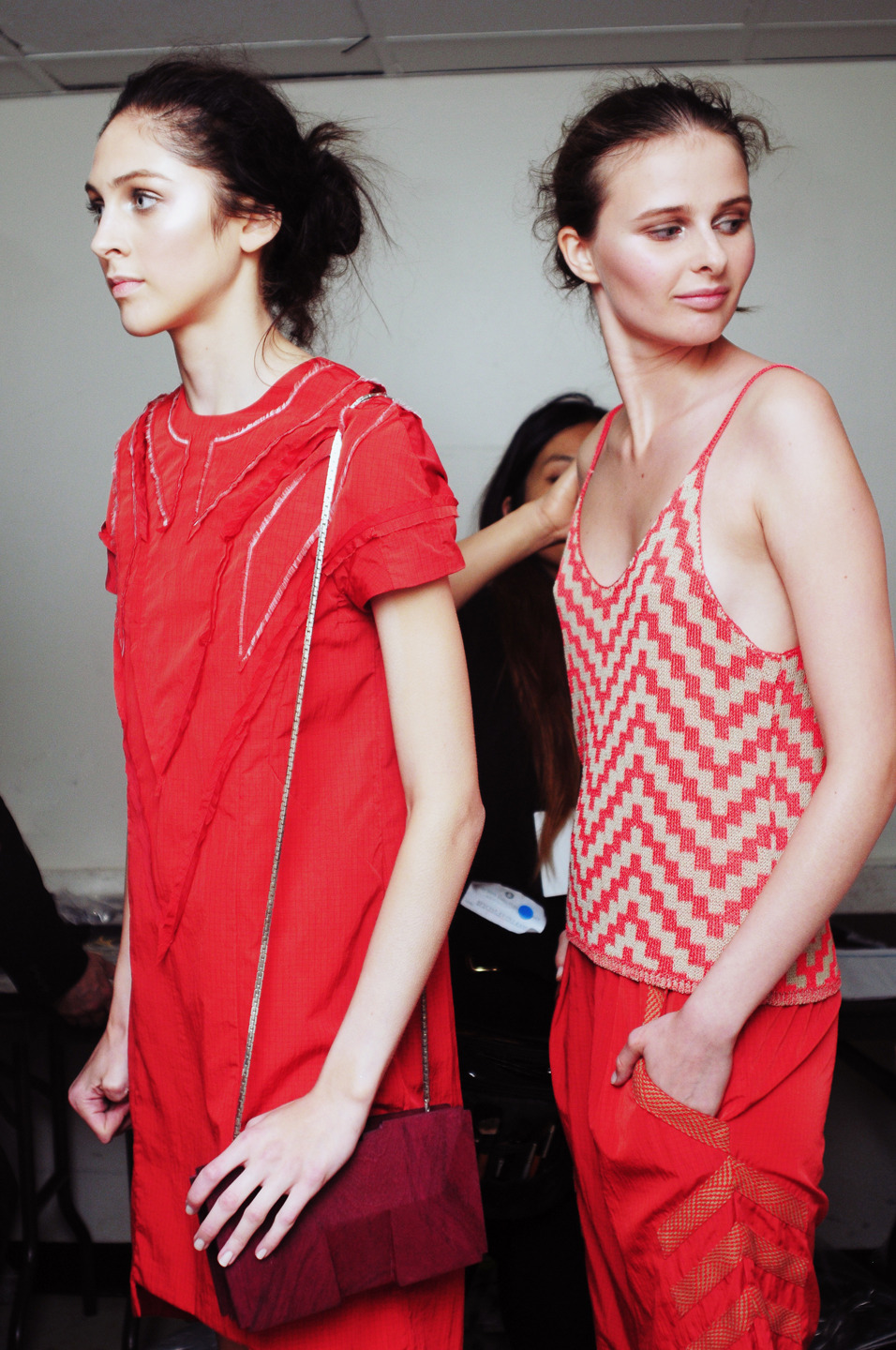 Backstage at the Jen Kao SS13 runway show