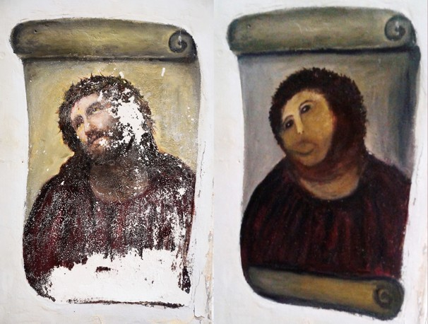 "npr:  prostheticknowledge:  Old Lady Ruins Fresco, Claims Copyright, Demands Money Via TechDirt:  Remember that sweet octagenarian lady in Spain who tried to restore a 19th-century fresco ""Ecce Homo"" and ended up producing something that the BBC's Europe correspondent described as ""a crayon sketch of a very hairy monkey in an ill-fitting tunic""?  … According to a story pointed out to us by @sinkdeep, that sweet octagenarian lady is back, accompanied now by her lawyers, claiming copyright on her work and demanding a cut of the takings from the collection box that the church authorities have placed near the fresco …  More Here  Your treat for getting through hump day. I can't stop looking at this. — rachel"